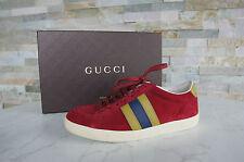 orig GUCCI Gr 39,5 G Sneakers Schnürschuhe Halbschuhe Schuhe rot  UVP 365 €