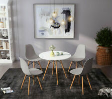 80cm Round Table And Dining Chairs 2 / 4 Set Gery Wood Leg Room Home Office UK