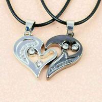 Herren Damen Liebhaber Paar Halskette I LOVE YOU Herz Anhänger Edelstahl nu C4I4