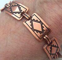"Copper Bracelet 7 1/2"" Linked Wheeler Mountain Arthritis Healing Folklore cb 244"