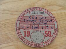 Original Vintage norton sidecar  Bicycle Tax Disc september   1959