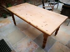 Vintage LARGE solid PINE kitchen dining room table seats 8 rustic CHUNKY
