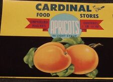 Vintage Cardinal Food Stores Apricots Can Label Hale-Halsell Co. McAlester, Ok.