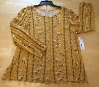 Sonoma Peasant Top Womens Plus Size XXL Long Sleeve Floral Print Rouch New (MA4)