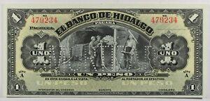 Mexico: 1 Peso El Banco de Hidalgo Amortizado 1914 ... UNC