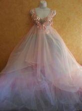 Rainbow Princess Pink Blue White Sequin Crystal Tulle Tutu Bridal Ballgown