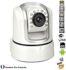 Caméra IP WiFi Motorisée Internet Nocturne Zoom X3 compatible Foscam Iphone Blan