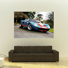 Poster of Ford GT40 Blue Right Front Giant Super Car Print Huge 54x36 Inches