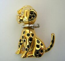 Metal Clear Crystal Eyes Black Enamel Animal Dog Brooch Pin Gold & Silver Plated