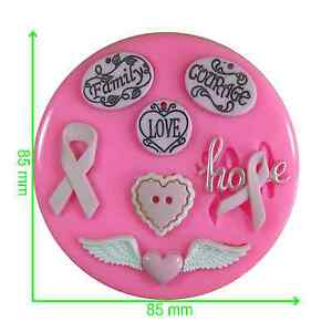 Awareness Ribbon Cancer Research Courage Hope Silicone Mould by Fairie Blessings