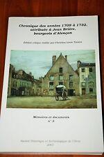 Histoire régionale ORNE Chronique années 1709-1732 Jean Brière ALENçON