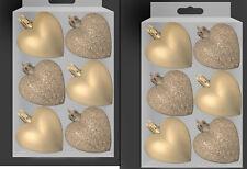 12 X Champagne Doré Paillette & Mat en Forme de Cœur Noël Arbre Boule Décoration