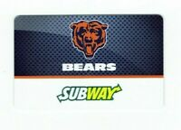 Subway Gift Card - Chicago Bears /  NFL Football - 2014 - No Value - I Combine