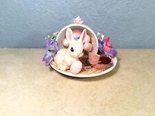 Bunny Rabbit Bird Figurines In Teacup Easter Spring Home Handmade Craft