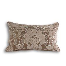 "Faux Silk Appliqued Taupe Beige Boudoir Cushion Cover 30 x 50 cms (12"" x 20"")"