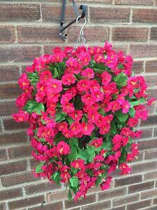 Beautiful Artificial  Morning Glory / Cerise Pink Hanging Basket Ready To Hang