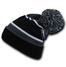 Black Charcoal Gray White Warm Winter Ski Pom Pom Skull Knit Cuff Beanie Cap Hat