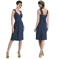 Light Shirred Stylish Knee Length Cocktail Party Day Dress Yacht Blue