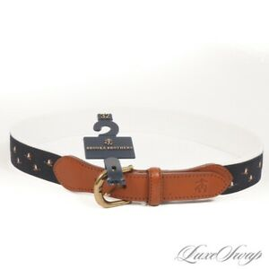 NWT Brooks Brothers White Canvas Navy Ribbon Mounted Geese Weekend Belt 32 NR