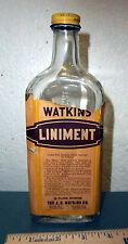 Vintage Watkins Liniment 11 oz bottle, wow HIGH alcohol content! clear bottle