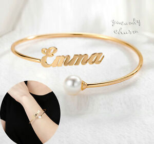 USA Personalized Custom Name Pearl Open Cuff bangle bracelet Mothers day Gold