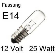 3x Glühlampe Glühbirne Lampe Röhre Spezial Ersatz E14 12V 25W 16x54mm  275414