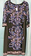 Roz & Ali Dressbarn Sheath Dress SIZE L Black Multi-Color Paisley NWT