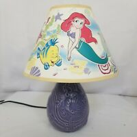 Little Mermaid Lamp Disney Glow In The Dark Purple Ceramic Sea Shell Vintage 80s