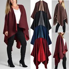 Ladies  Plain Cape Wrap  Women Wool Winter Fashion Shawl Poncho Cardi Blazer UK