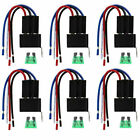 6PCS 12V 4Pin Fuse Relay Switch Harness Set SPST 30A 14 AWG Hot Wires US