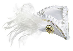 Mini Tricorner White Buccaneer Fancy Corner Hat Adult Womens Costume Accessory