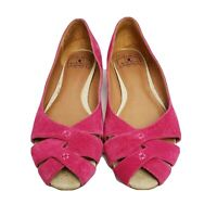 Lucky Brand 8 M fuchsia pink suede flats crisscross peep toes style name Ester