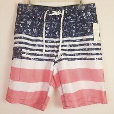 Old Navy USA Patriotic Red White Blue Stripes Swim Board Shorts Mens Size Medium