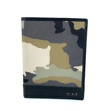 Tumi Tan Desert Camo Passport Cover ID Wallet Black Leather Trim 113971