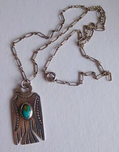 Vtg Fred Harvey Sterling Silver Stamped THUNDERBIRD Turquoise Necklace