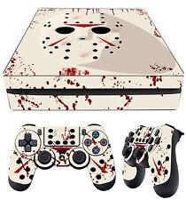 PS4 Slim Skin Jason Mask Bloody Horror Jason Voorhees + Pad Decals Vinyl Laid