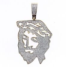 925 Sterling Silver 14K Gold Plated Iced Jesus Face Pendant
