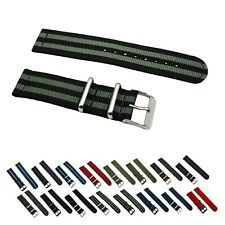 2 Piece Ballistic Nylon SS Military Solid/Stripe Replacement Watch Strap