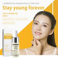 Serum Anti Lanbena Six Peptides 24k Gold Aging Wrinkle Essence Moisturize Skin