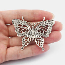 5pcs Large Antique Silver Butterfly Charms Pendants Jewelry Findings 60x48mm
