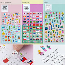 World Flag Landmark Cactus Sticker 3 Set Diary Planner Book Scrapbook Cute Decor