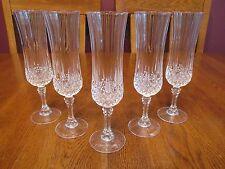 Five Beautiful Cristal D'Arques Longchamp Lead Crystal Champagne Flutes Glasses