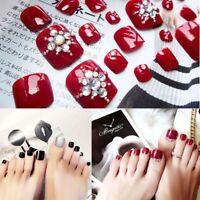 24pcs / set pied de mode faux ongles strass faux faux-ongles avec de la colle N