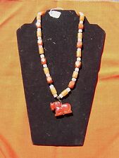 Handmade 22-inch Knotted Carnelian Horse Pendant Necklace B