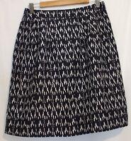 SPORTSCRAFT ~ Navy White Geometric Print Fully Lined Straight Skirt 10