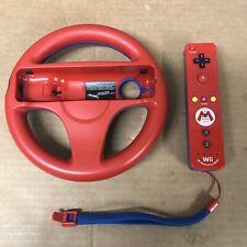 Nintendo Wii Mario Remote Controller and Mario Kart Racing Steering  Wheel