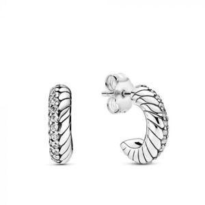 PANDORA Pavé Snake Chain Pattern Hoop Earrings S925 SIlver Sterling New 2020