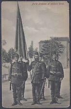 TURKEY 1900 OTTOMAN FLAG CARRIER & SOLDIERS BLACK & WHITE PHOTO CARD