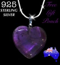 Amethyst Quartz Natural Crystal Heart Pendant 925 Sterling Silver Necklace Gift