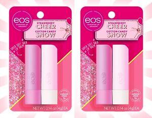 2 eos Holiday Lip Balm Sticks Strawberry Cheer & Cotton Candy Snow Holiday Set
